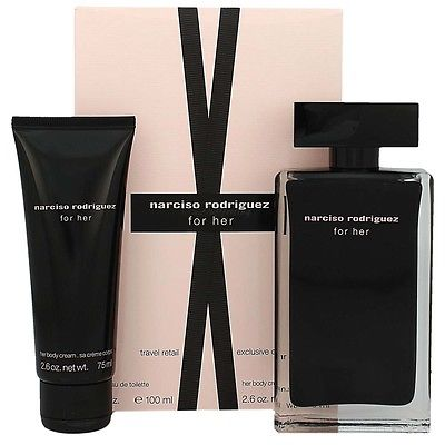 narciso rodriguez for her eau de toilette 100ml body lotion 75 ml gift set. Black Bedroom Furniture Sets. Home Design Ideas